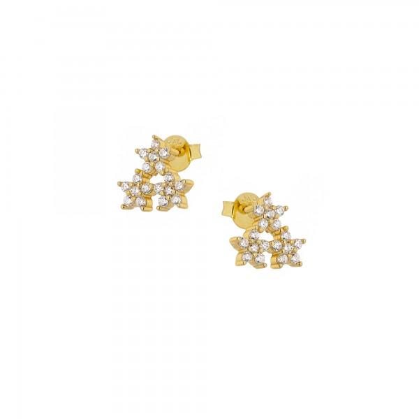 Σκουλαρίκια καρφωτά λουλούδια ασήμι 925 επιχρυσωμένα με ζιργκόν PS/8B-SC191-3