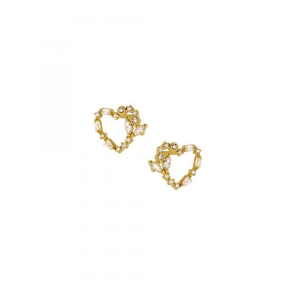 Σκουλαρίκια καρφωτά καρδιές ασήμι 925 επιχρυσωμένα με ζιργκόν PS/8A-SC176-3