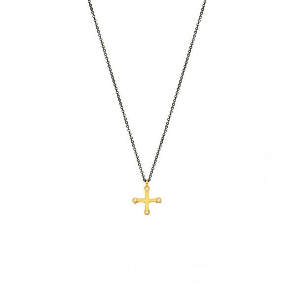 Χειροποίητος σταυρός από χρυσό K14 με λευκό ζιργκόν KRI-S23