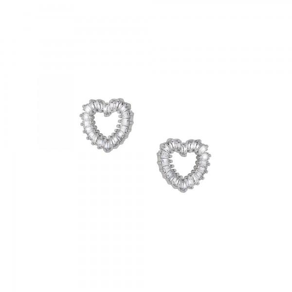 Σκουλαρίκια καρφωτά καρδιές ασήμι 925 με λευκά ζιργκόν PS/8A-SC177