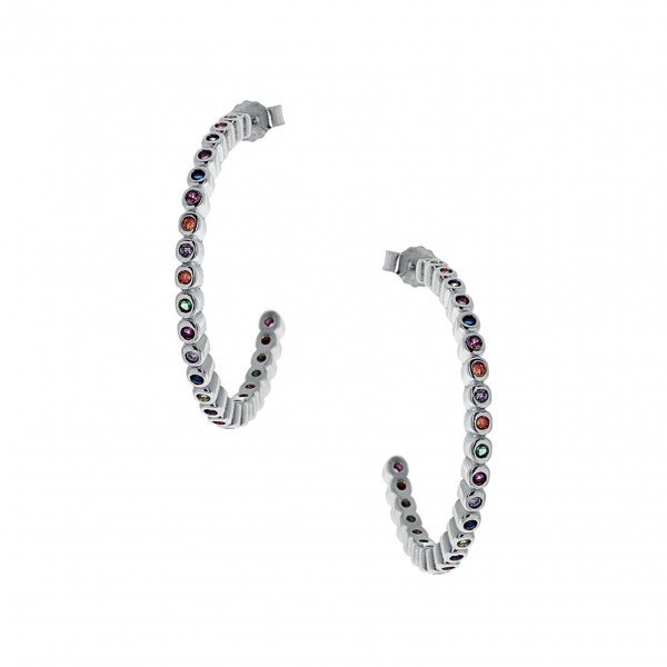 Hoop earrings in silver 925 with colorful zircon PS/8A-SC189