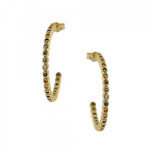 Σκουλαρίκια κρίκοι ασήμι 925 με πολύχρωμα ζιργκόν PS/8A-SC189
