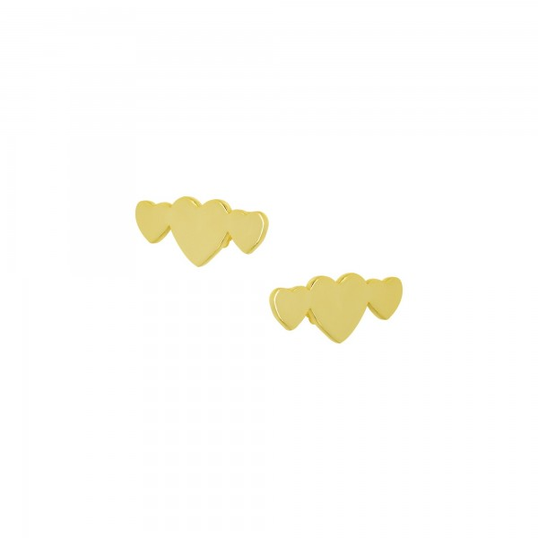 Σκουλαρίκια καρφωτά καρδιές ασήμι 925 επιχρυσωμένα PS/8A-SC225-3