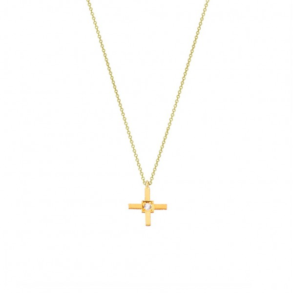 Χειροποίητος σταυρός από χρυσό K14 με λευκό ζιργκόν KRI-S37