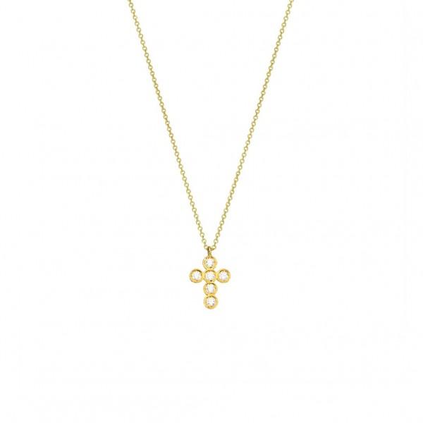 Χειροποίητος σταυρός από χρυσό K14 με λευκά ζιργκόν KRI-S32