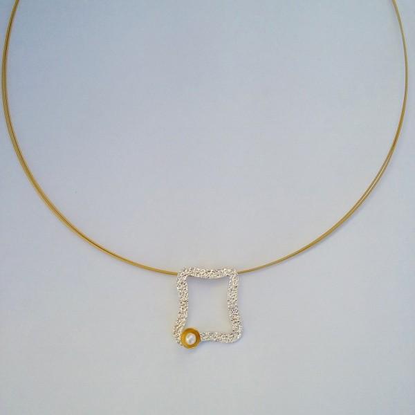 Κολιέ ασήμι 925 χειροποίητο επιχρυσωμένο σφυρήλατο πέρλα