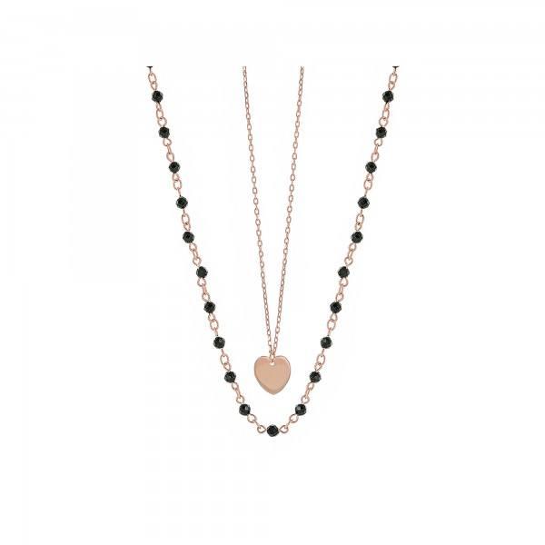 Double heart necklace in silver 925 rose gold plated with spinel PS/9U-KD006-2B