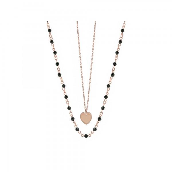 Κολιέ διπλό καρδιά ασήμι 925 με ροζ επιχρύσωση και σπινέλια PS/9U-KD006-2B