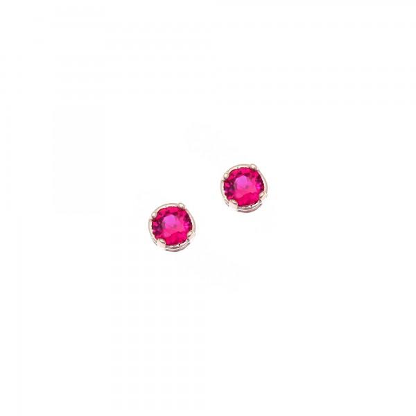 Σκουλαρίκια ασήμι 925 με ροζ επιχρύσωση και φούξια ζιργκόν GRE-43796