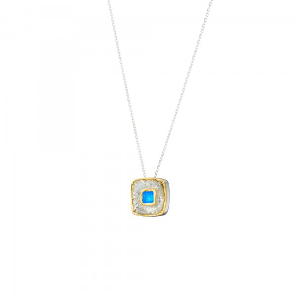 Handmade square water lily Pendant in silver 950 with enamel KON-A59MAX