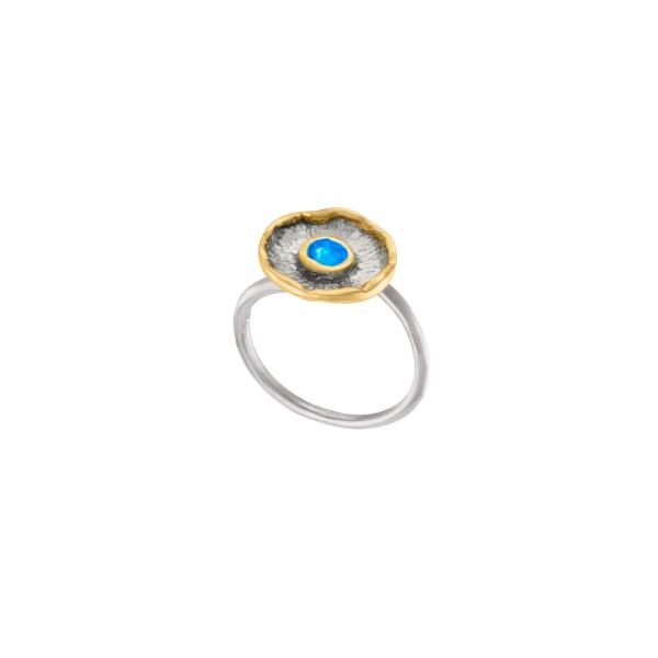 Χειροποίητο δαχτυλίδι Νούφαρο ασήμι 950 με σμάλτο KON-A58DAX