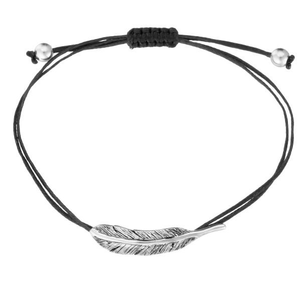 Χειροποίητο βραχιόλι φτερό ασήμι 950 οξειδωμένο KON-A87B