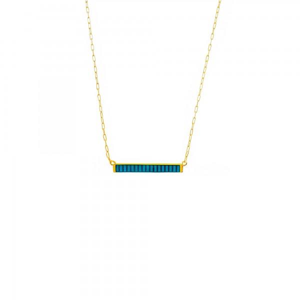 Κολιέ ασήμι 925 επιχρυσωμένο με μπλε σμάλτο GRE-60226