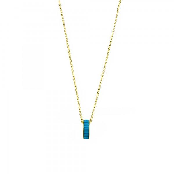Κολιέ ασήμι 925 επιχρυσωμένο με μπλε σμάλτο GRE-60222