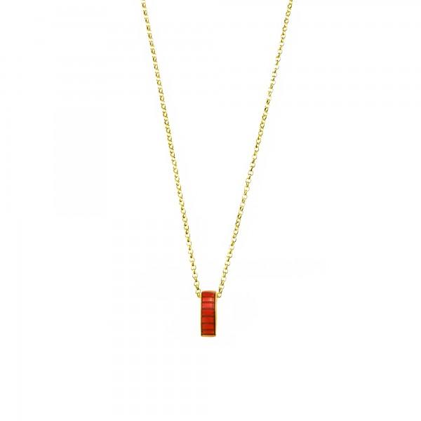 Κολιέ ασήμι 925 επιχρυσωμένο με κόκκινο σμάλτο GRE-60221