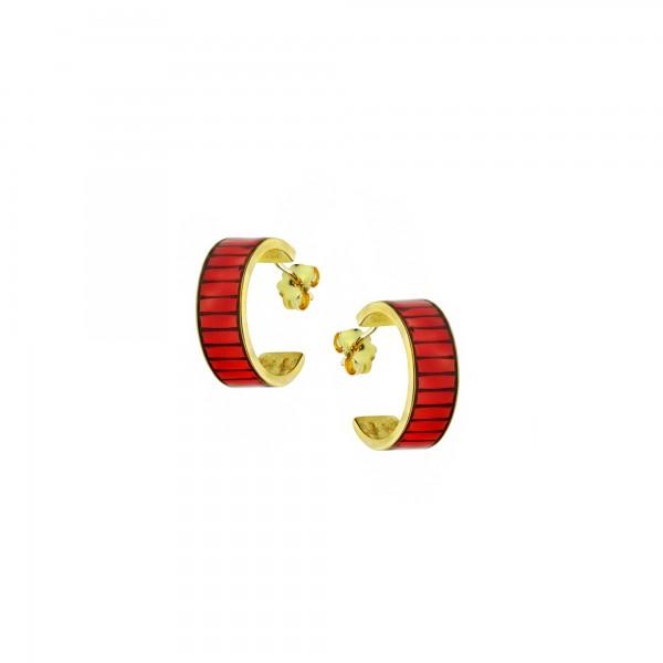 Σκουλαρίκια κρίκοι ασήμι 925 επιχρυσωμένα με κόκκινο σμάλτο GRE-60235