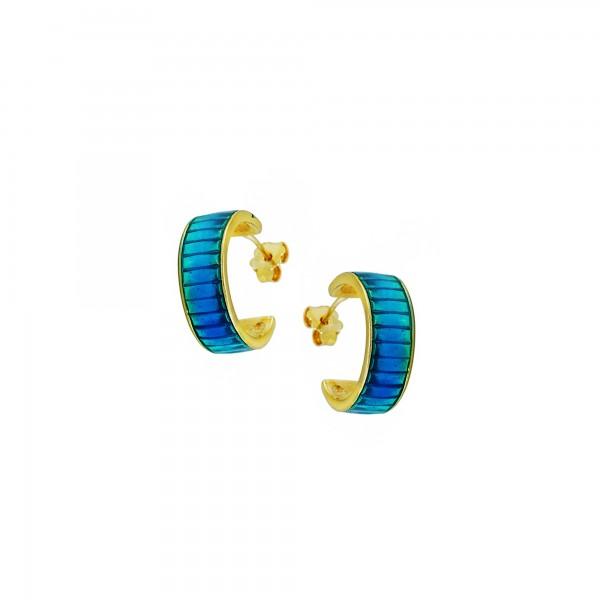 Σκουλαρίκια κρίκοι ασήμι 925 επιχρυσωμένα με μπλε σμάλτο GRE-60233