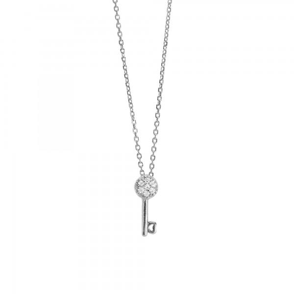 Κολιέ κλειδί από ασήμι 925 με λευκά ζιργκόν
