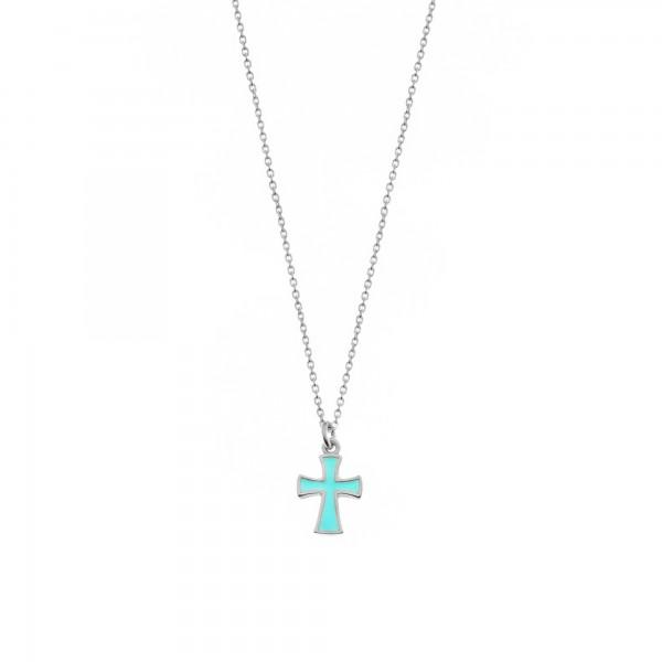 Κολιέ μικρός σταυρός ασήμι 925 επιπλατινωμένο με γαλάζιο σμάλτο GRE-60345