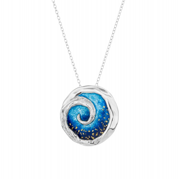 Handmade spiral Pendant in silver 950 platinum plated with enamel KON-100M8