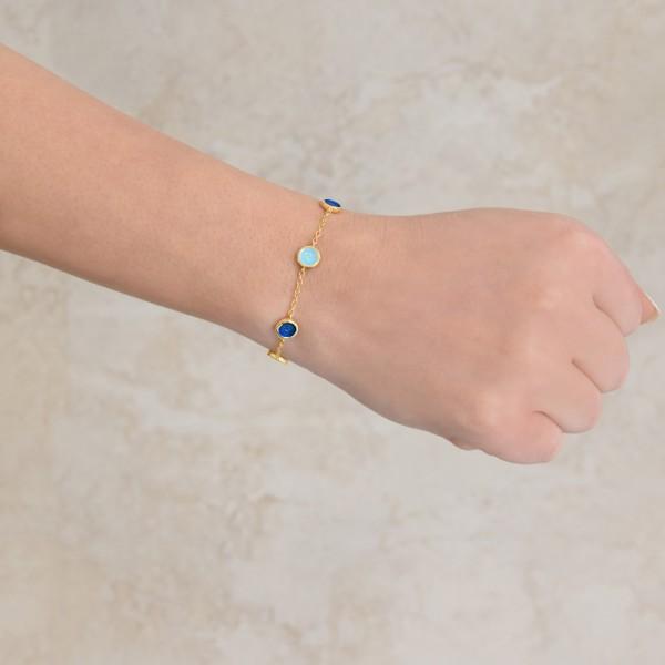 Χειροποίητο βραχιόλι ασήμι 950 επιχρυσωμένο με σμάλτο KON-301B8X