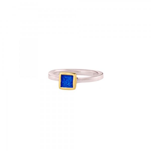 Χειροποίητο τετράγωνο μονόπετρο δαχτυλίδι ασήμι 950 δίχρωμο με σμάλτο KON-43E8AX