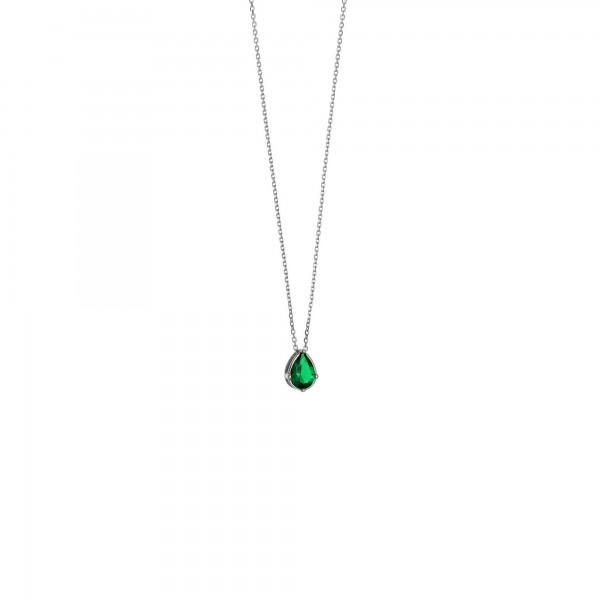 Κολιέ δάκρυ ασήμι 925 επιπλατινωμένο με πράσινο ζιργκόν GRE-59985