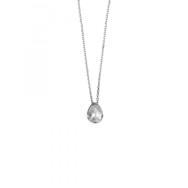 Κολιέ δάκρυ ασήμι 925 επιπλατινωμένο με λευκό ζιργκόν GRE-57313