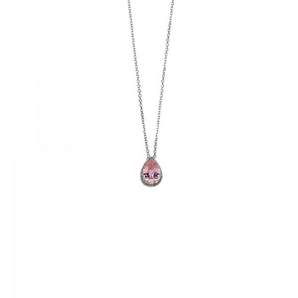 Κολιέ δάκρυ ασήμι 925 επιπλατινωμένο με ροζ ζιργκόν GRE-59997