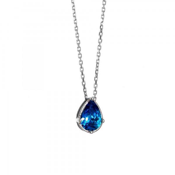 Κολιέ δάκρυ ασήμι 925 επιπλατινωμένο με μπλε ζιργκόν GRE-60077