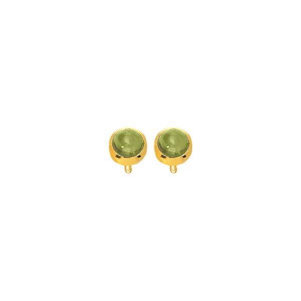 Χειροποίητα καρφωτά σκουλαρίκια Χρυσό Κ14 με πράσινη τουρμαλίνη KRI-S/E218(TG)