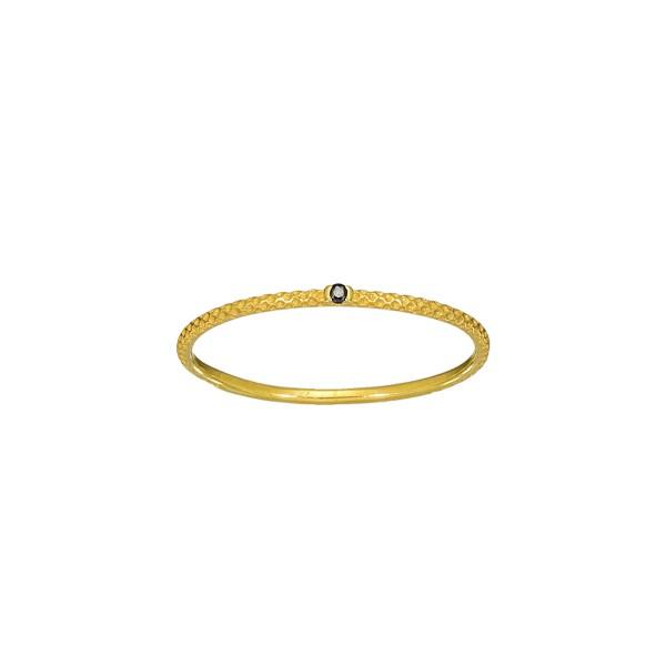 Χειροποίητο Δαχτυλίδι Χρυσό Κ14 με μαύρο ζιργκόν KRI-D/E247(BL)