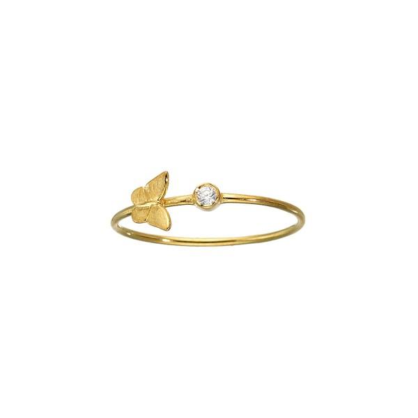 Χειροποίητο Δαχτυλίδι πεταλούδα Χρυσό Κ14 με λευκό ζιργκόν KRI-D/P18