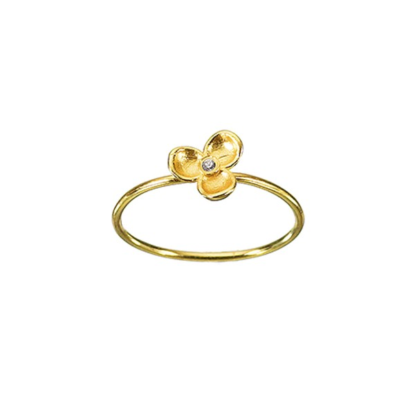 Χειροποίητο Δαχτυλίδι Λουλούδι Χρυσό Κ14 με λευκό ζιργκόν KRI-D/M34