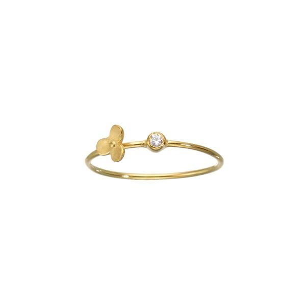 Χειροποίητο Δαχτυλίδι Λουλούδι Χρυσό Κ14 με λευκό ζιργκόν KRI-D/M40