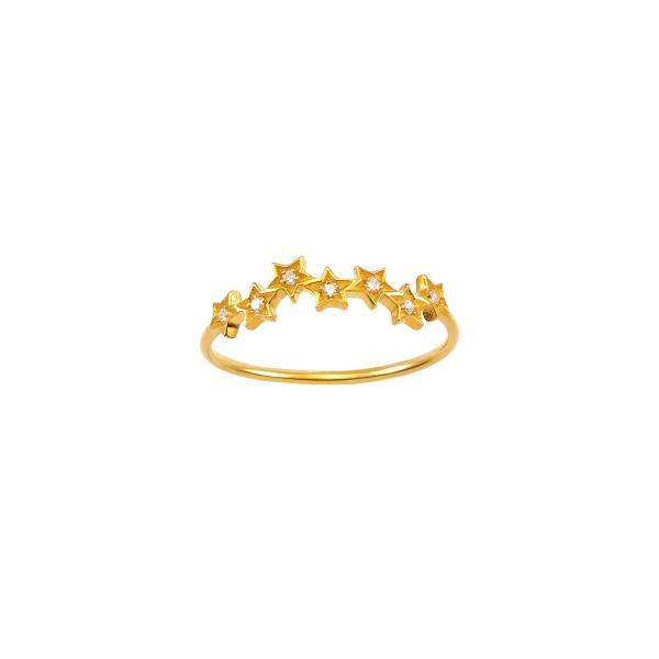 Χειροποίητο δαχτυλίδι αστέρια χρυσό Κ14 με ζιργκόν KRI-D/A32(W)