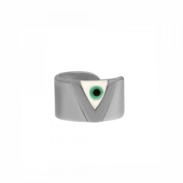 Vassia Kostara Ear cuff μονό ασήμι 925 επιπλατινωμένο με μάτι GRE-61068