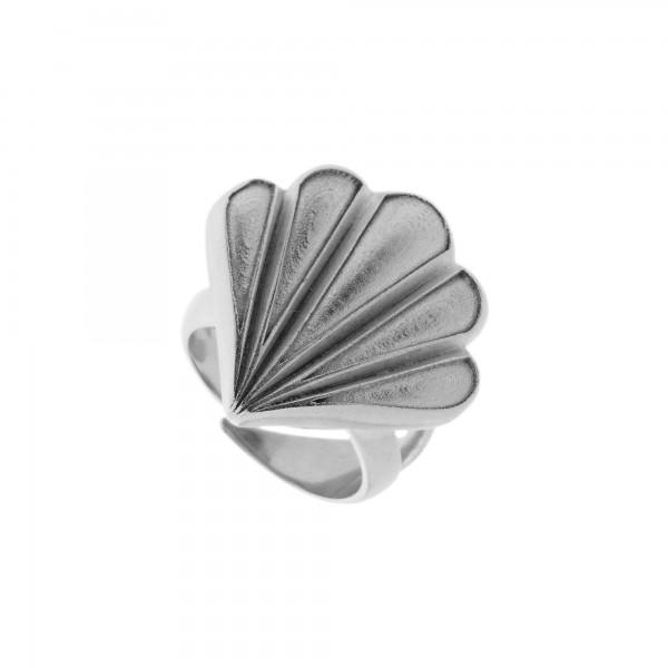 Vassia Kostara Δαχτυλίδι κοχύλι ασήμι 925 επιπλατινωμένο GRE-61189