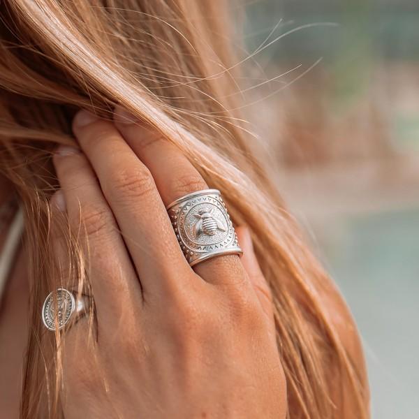 Vassia Kostara Δαχτυλίδι μέλισσα ασήμι 925 επιπλατινωμένο GRE-61069