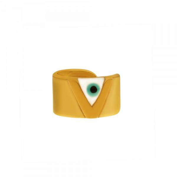 Vassia Kostara Ear cuff μονό ασήμι 925 επιχρυσωμένο με μάτι GRE-61067
