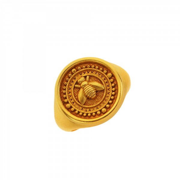 Vassia Kostara Δαχτυλίδι μέλισσα ασήμι 925 επιχρυσωμένο GRE-61071