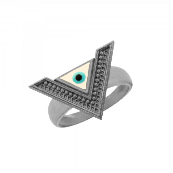 Δαχτυλίδι ασήμι 925 επιπλατινωμένο με μάτι από σμάλτο GRE-61074
