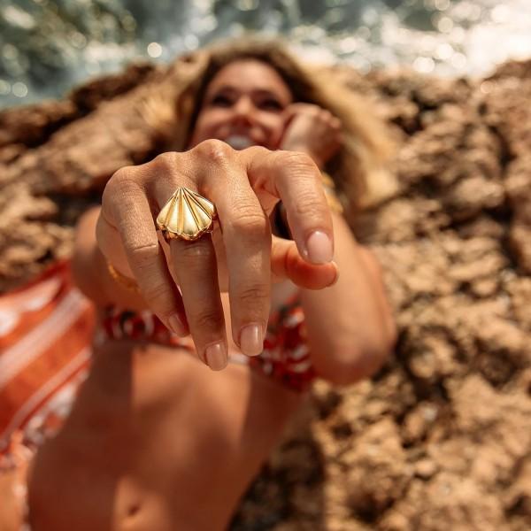 Vassia Kostara Δαχτυλίδι κοχύλι ασήμι 925 επιχρυσωμένο GRE-61175