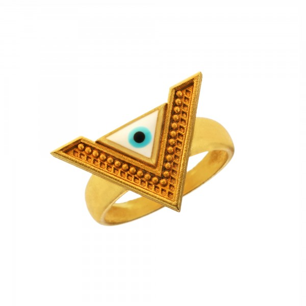 Vassia Kostara Δαχτυλίδι ασήμι 925 επιχρυσωμένο με μάτι από σμάλτο GRE-61073