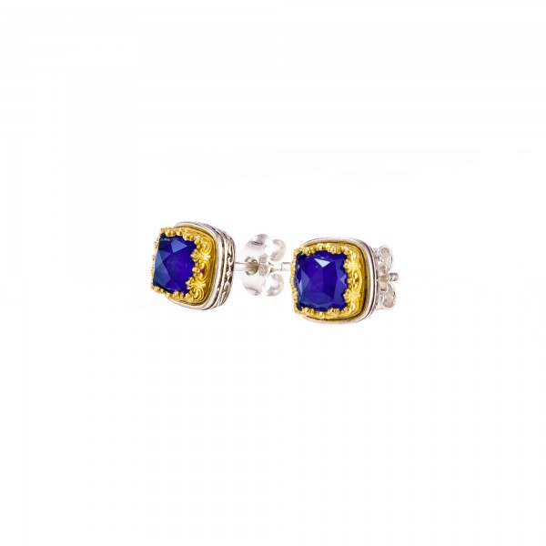Iris stud earrings in Sterling Silver with Gold plated parts with lapis lazuli GER-P1709