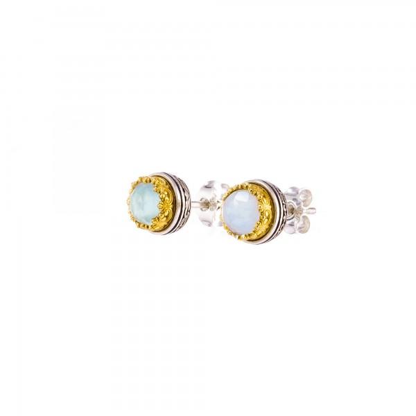 Χειροποίητα σκουλαρίκια καρφωτά ασήμι 925 με επίχρυσες λεπτομέρειες και λαμπραδορίτη GER-P1708