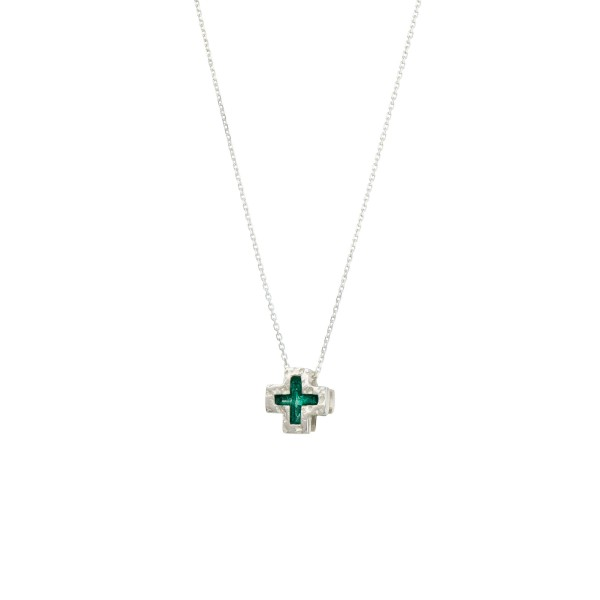 Χειροποίητο Μενταγιόν Σταυρός ασήμι 950 με πράσινο σμάλτο KON-A43M5