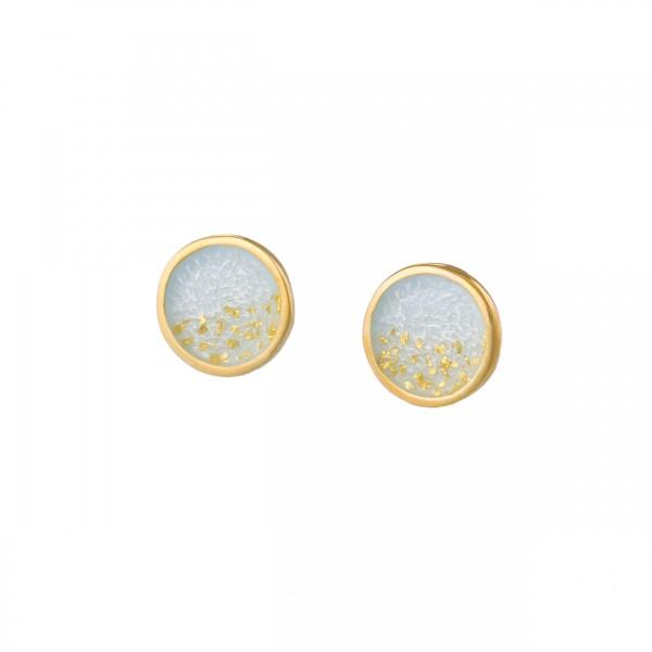 Χειροποίητα καρφωτά σκουλαρίκια κύκλοι ασήμι 950 με λευκό σμάλτο KON-S4S