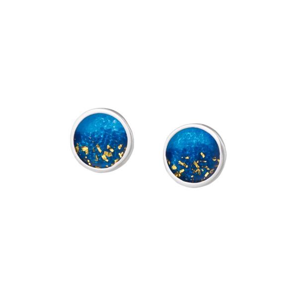 Χειροποίητα καρφωτά σκουλαρίκια κύκλοι ασήμι 950 με σκούρο μπλε σμάλτο KON-S4S8