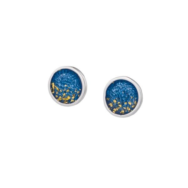 Χειροποίητα καρφωτά σκουλαρίκια κύκλοι ασήμι 950 με σμάλτο KON-S4S